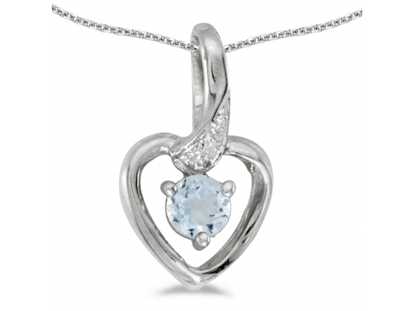 10k White Gold Round Aquamarine And Diamond Heart Pendant by Color Merchants