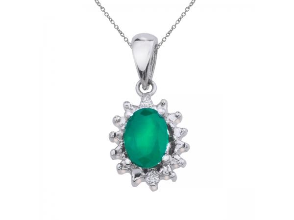 10k white gold emerald and diamond pendant p2856w 05. Black Bedroom Furniture Sets. Home Design Ideas