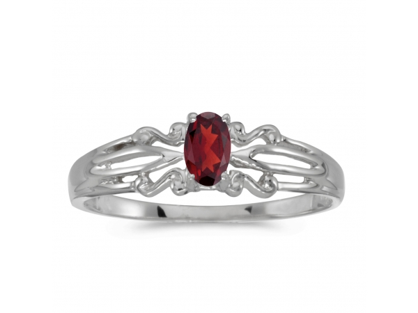 14k White Gold Oval Garnet Ring by Color Merchants