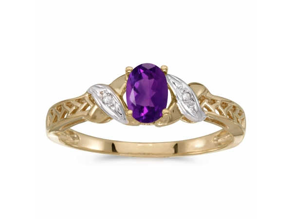 10k Yellow Gold Oval Amethyst And Diamond Ring by Color Merchants