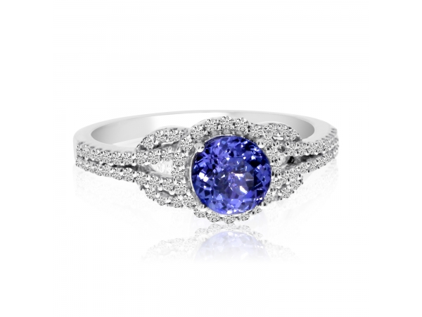 14k White Gold Round Tanzanite and Diamond Ring by Color Merchants