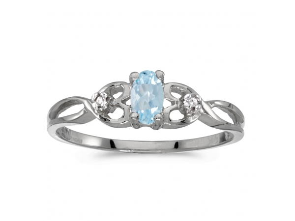 10k white gold oval aquamarine and diamond ring rm931w 03. Black Bedroom Furniture Sets. Home Design Ideas