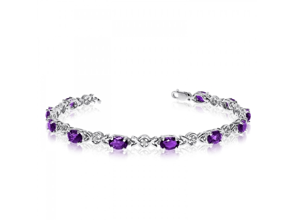 10K White Gold Oval Amethyst and Diamond Bracelet by Color Merchants