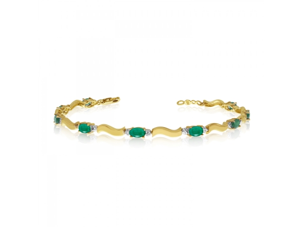 10K Yellow Gold Oval Emerald and Diamond Bracelet by Color Merchants