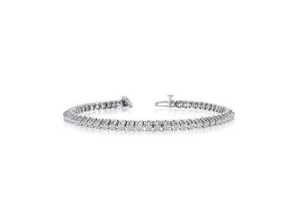 "2.00ctw 14K White Gold ""C"" Channel Diamond Bracelet by Color Merchants"