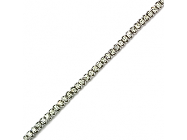 "4.00ctw 14K White Gold ""C"" Channel Diamond Bracelet by Color Merchants"