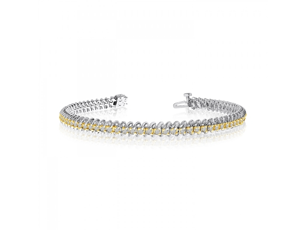14k White Gold S-Link Diamond Bracelet by Color Merchants