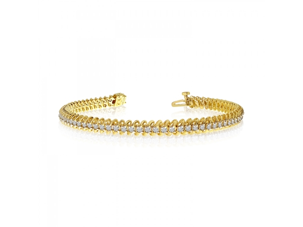 "14K Yellow Gold Soft ""S"" Illusion Diamond Bracelet by Color Merchants"