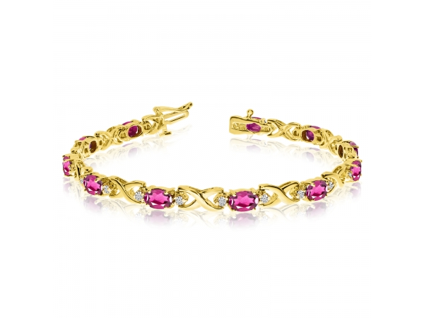 14k Yellow Gold Natural Pink-Topaz And Diamond Tennis Bracelet by Color Merchants