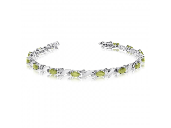 14k White Gold Natural Peridot And Diamond Tennis Bracelet by Color Merchants