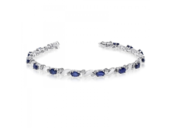 14k White Gold Natural Sapphire And Diamond Tennis Bracelet by Color Merchants