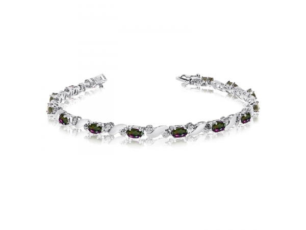 14k White Gold Natural Mystic-Topaz And Diamond Tennis Bracelet by Color Merchants