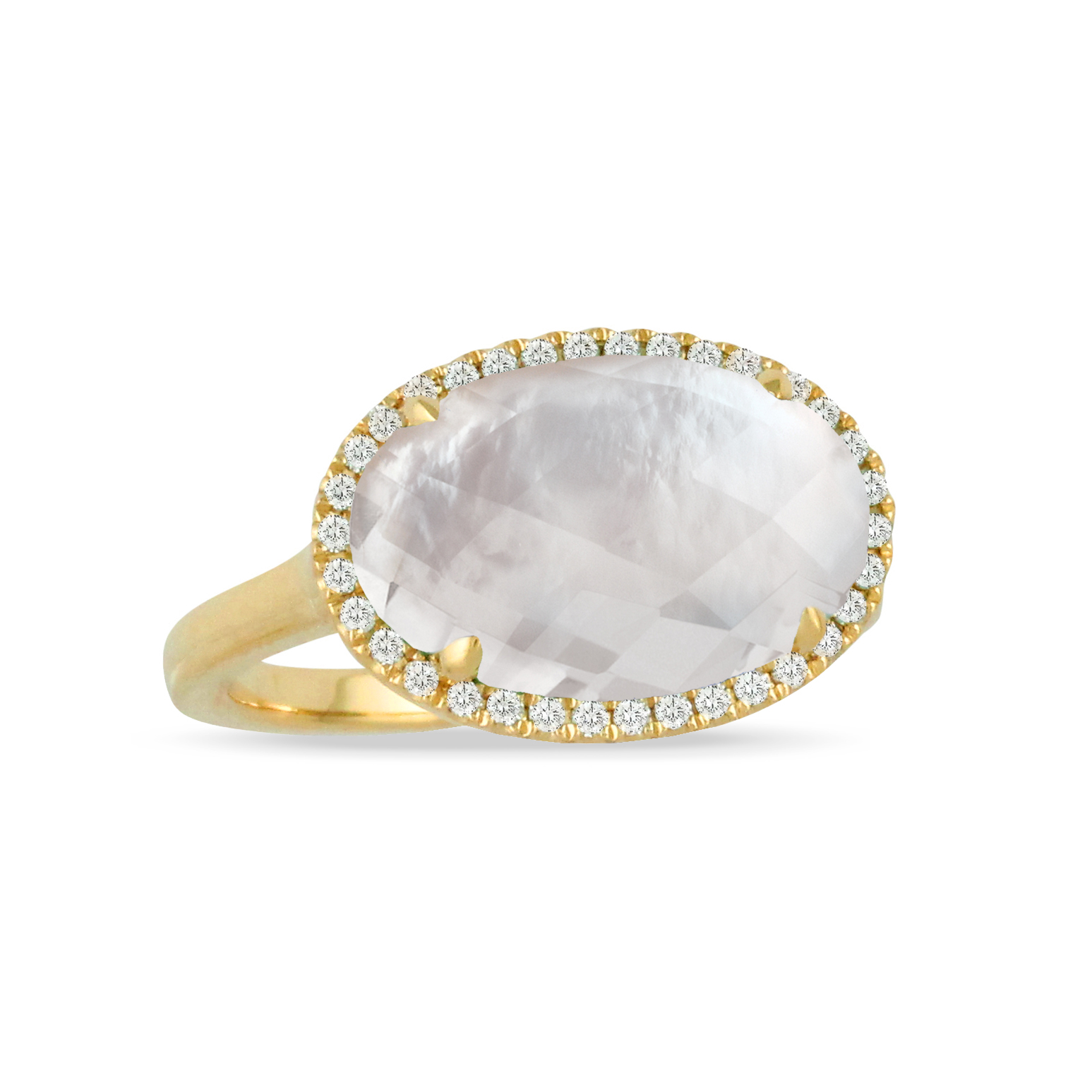 18K Yellow Gold Pearl Fashion Ring by Dove