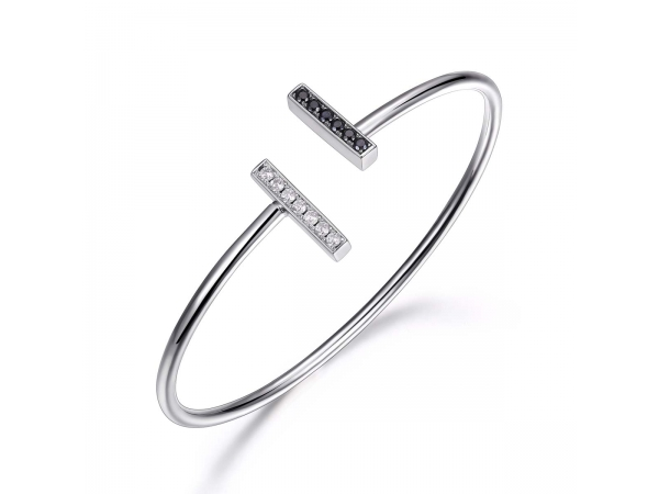 Sterling Silver Rhodium Plated Cuff  by Elle Jewelry