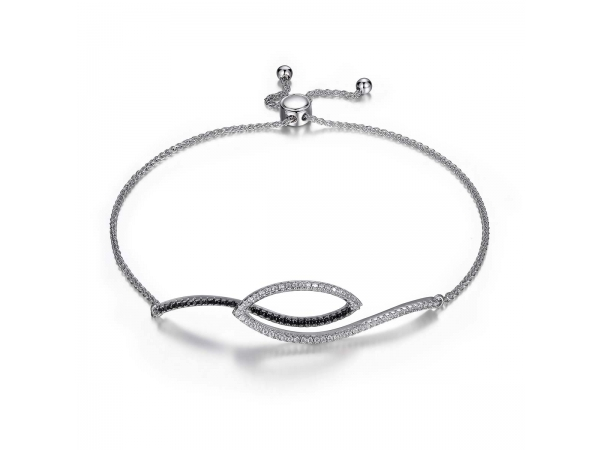 Sterling Silver Rhodium Plated Bracelet  by Elle Jewelry