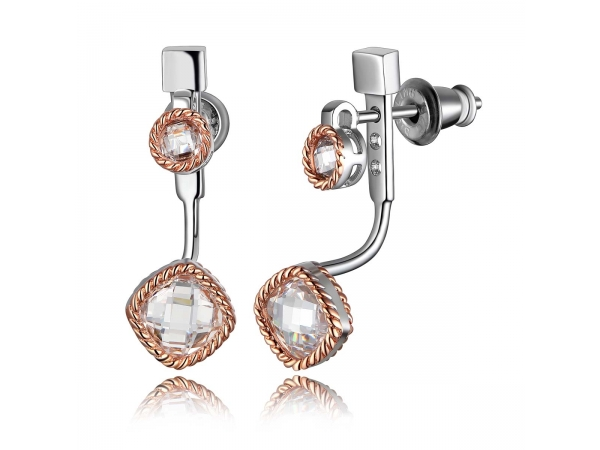 Sterling Silver Rhodium Plated Rose Earrings  by Elle Jewelry