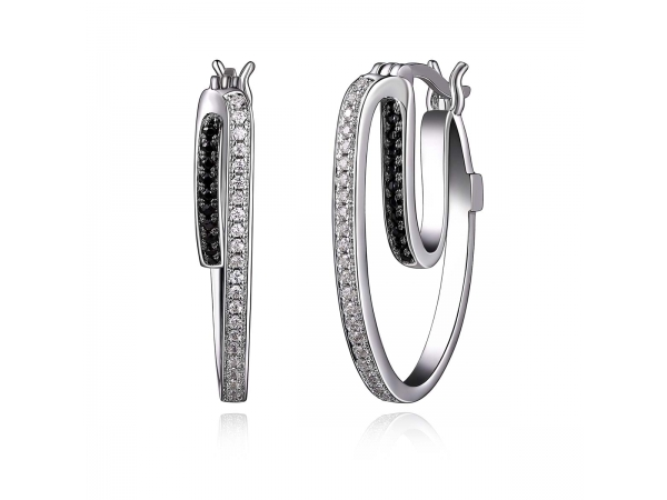Sterling Silver Rhodium Plated Earrings  by Elle Jewelry