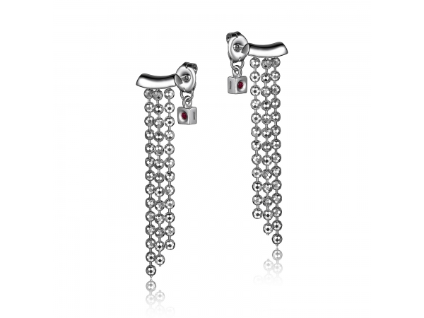 Sterling Silver Rhodium Plated Earrings   by ELLE