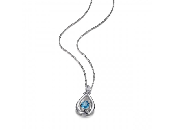 Pendant With Sterling Silver Blue Topaz  - Sterling Silver Elle