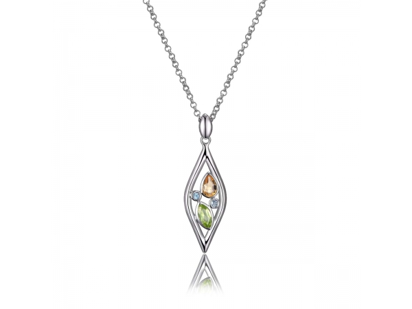 Sterling Silver Rhodium Plated Necklace  by ELLE
