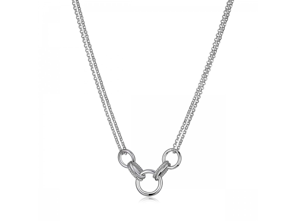 Sterling Silver Rhodium Plated Necklace  1.2Mm by Elle Jewelry