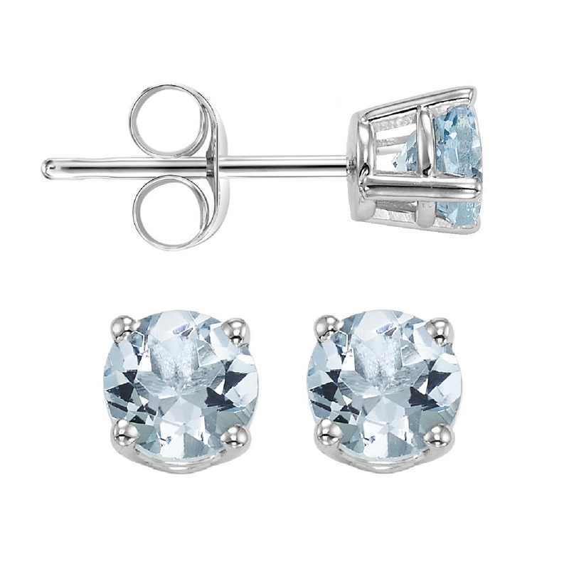 Round Prong Set Aquamarine Studs in 14K White Gold Biondi Diamond Jewelers Aurora, CO