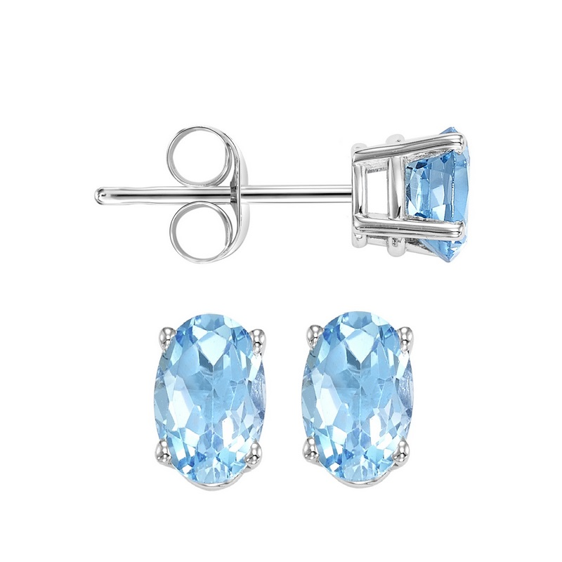 Oval Prong Set Blue Topaz Studs in 14K White Gold Biondi Diamond Jewelers Aurora, CO