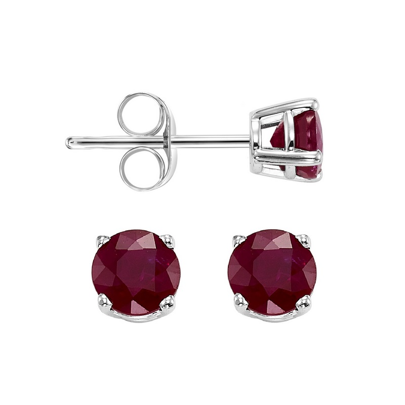 Four Prong Garnet Studs in 14K White Gold (3 MM) Moseley Diamond Showcase Inc Columbia, SC