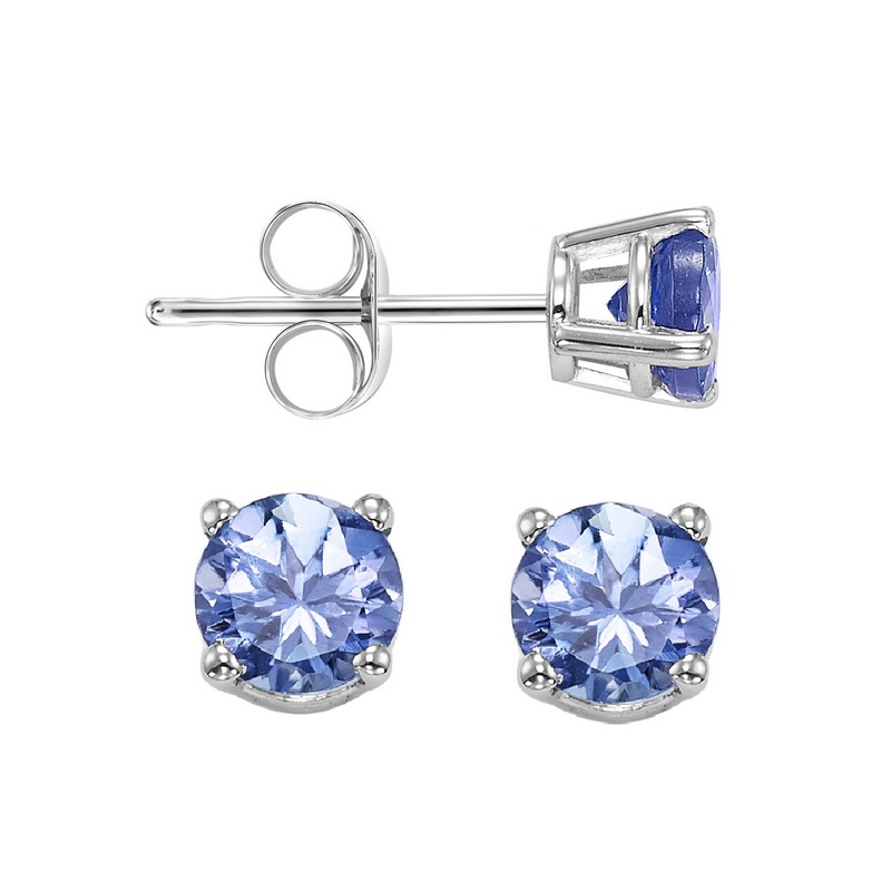 Four Prong Tanzanite Studs in 14K White Gold (4.5 MM) Moseley Diamond Showcase Inc Columbia, SC