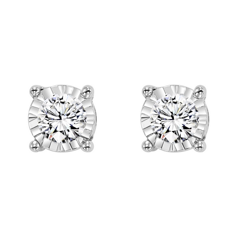 Four Prong Diamond Stud Earrings in 14K White Gold (1/7 ct. tw.) SI3 - G/H Moseley Diamond Showcase Inc Columbia, SC