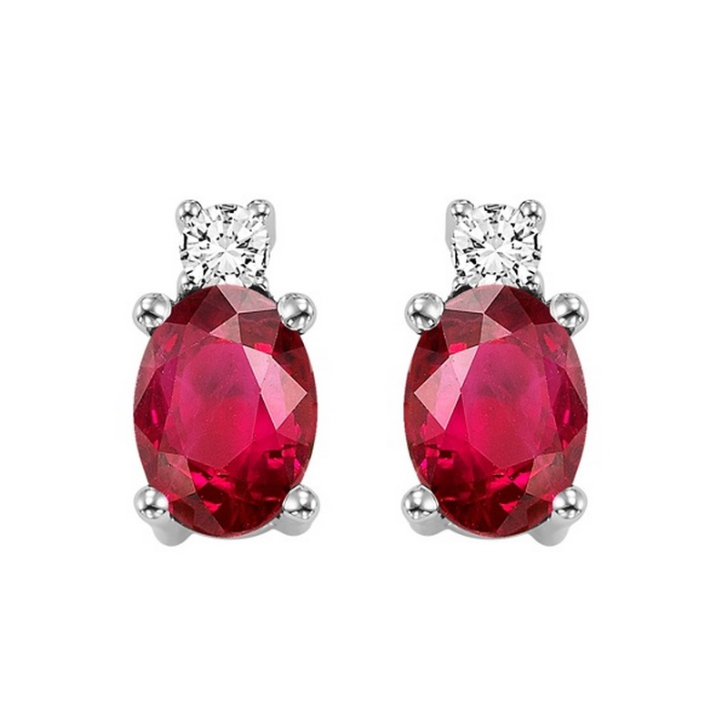 Oval Ruby & Diamond Earrings in 14K White Gold (1/14 ct. tw.) Moseley Diamond Showcase Inc Columbia, SC
