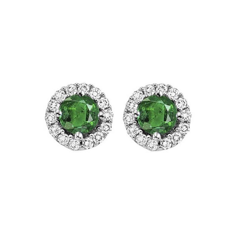 Round Emerald & Diamond Halo Stud Earrings in 14K White Gold (1/7 ct. tw.) Moseley Diamond Showcase Inc Columbia, SC