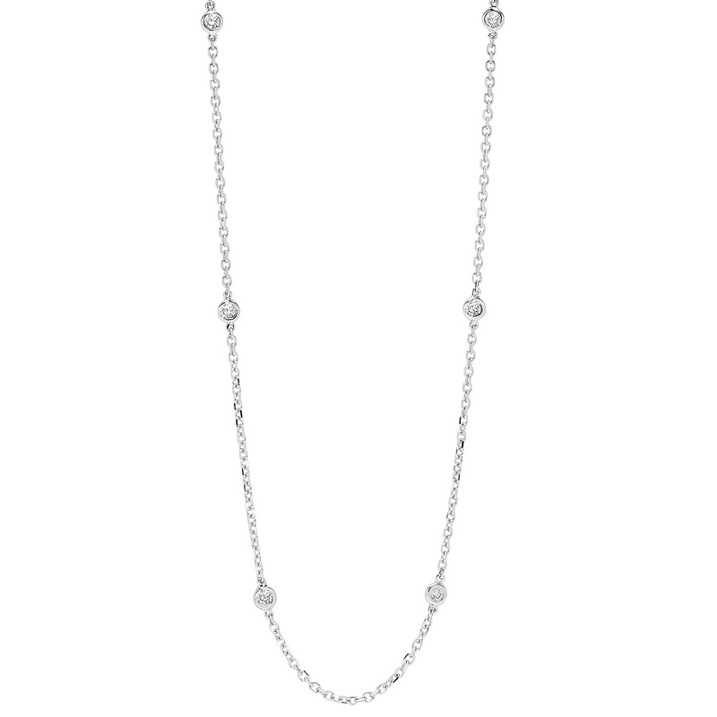 14K White Gold Diamonds by the Yard Bezel Set Diamond Necklace (1 ct. tw.) Moseley Diamond Showcase Inc Columbia, SC