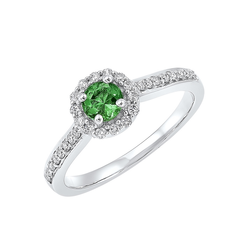 14K White Gold  Halo Prong Emerald Ring (1/3 ct. tw.) Moseley Diamond Showcase Inc Columbia, SC