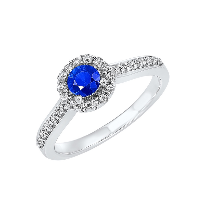 14K White Gold  Halo Prong Sapphire Ring (1/3 ct. tw.) Moseley Diamond Showcase Inc Columbia, SC
