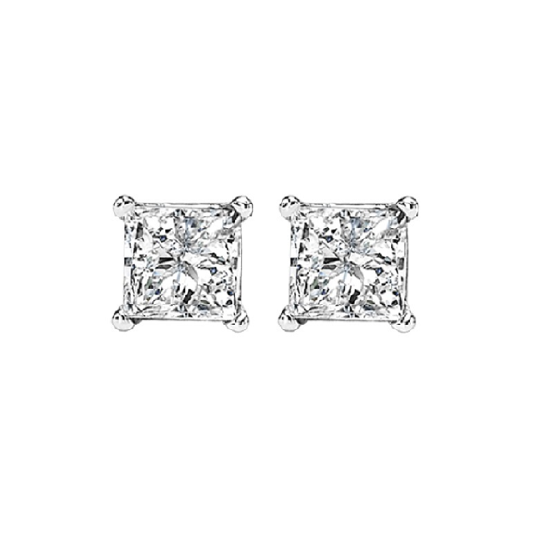 Princess Cut Diamond Studs in 14K White Gold (1/3 ct. tw.) I1 - G/H Moseley Diamond Showcase Inc Columbia, SC