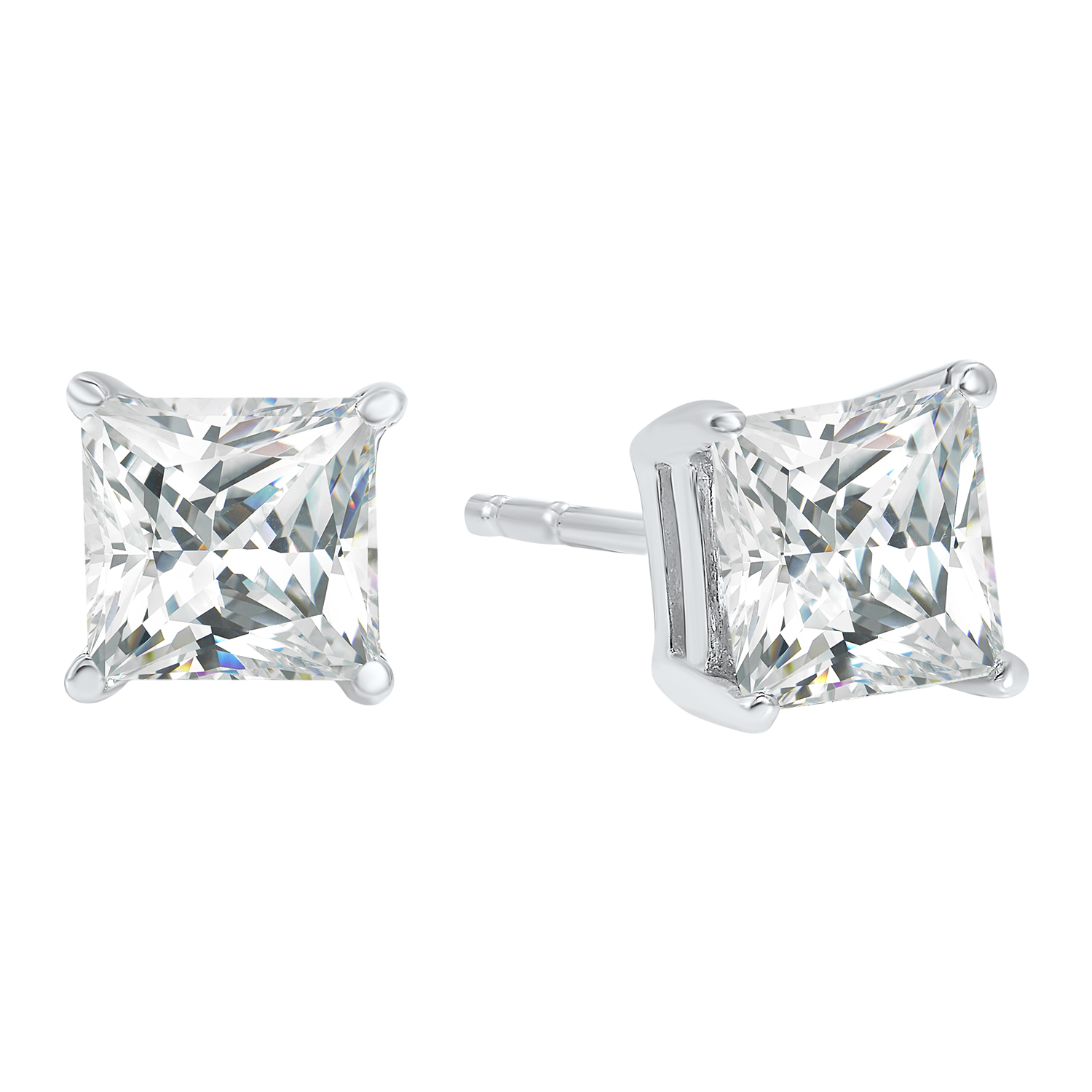 Princess Cut Diamond Studs in 14K White Gold (2 ct. tw.) I1 - G/H Moseley Diamond Showcase Inc Columbia, SC