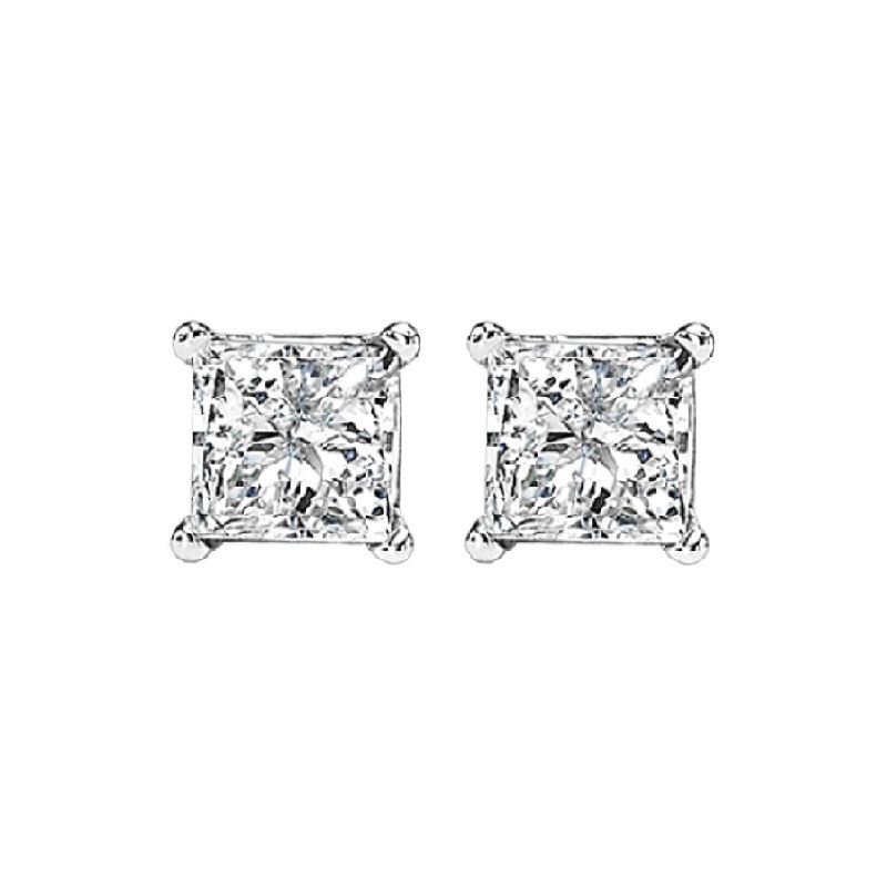 Princess Cut Diamond Studs in 14K White Gold (3/5 ct. tw.) SI2 - G/H Moseley Diamond Showcase Inc Columbia, SC