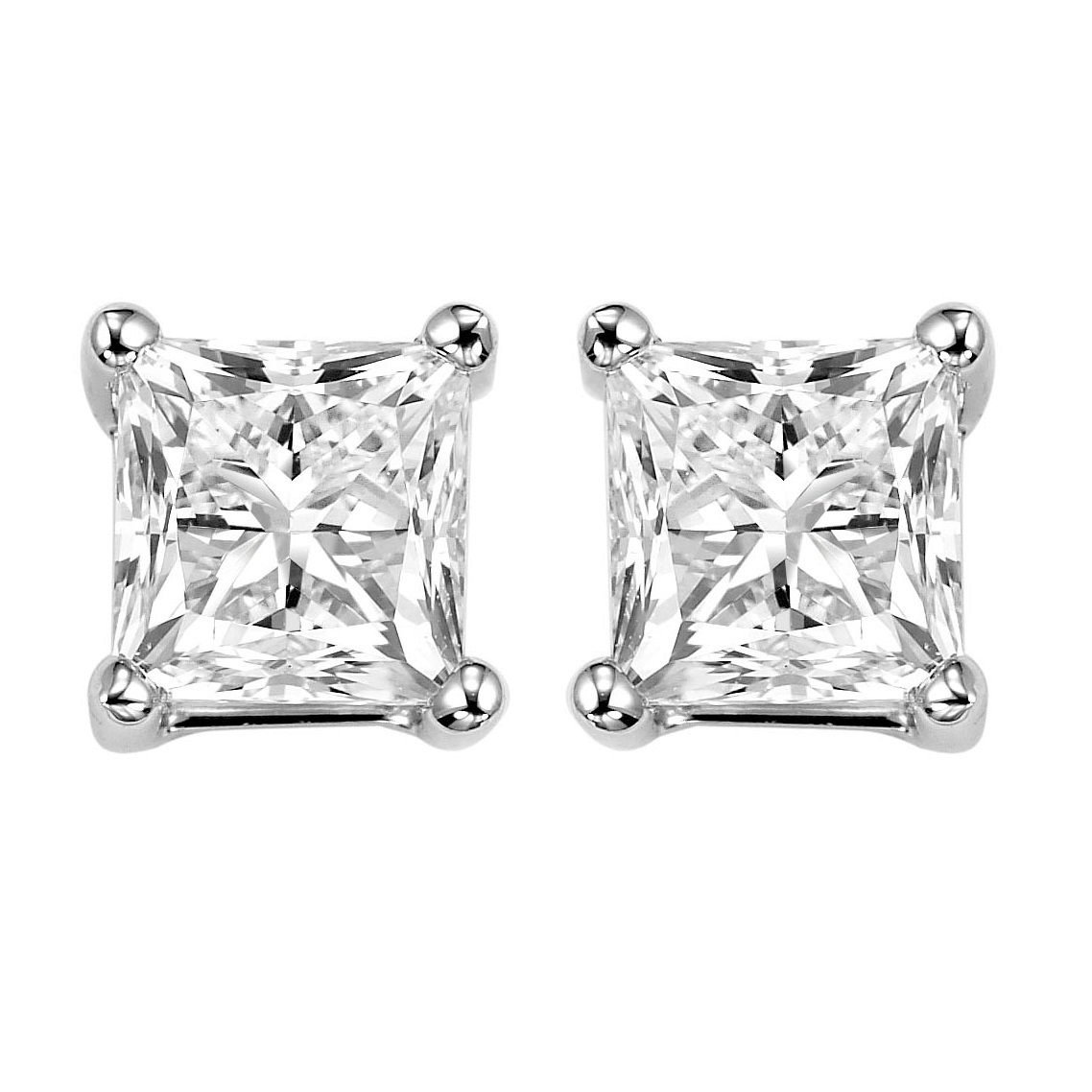 Princess Cut Diamond Studs in 14K White Gold (1 1/2 ct. tw.) SI2 - G/H Moseley Diamond Showcase Inc Columbia, SC