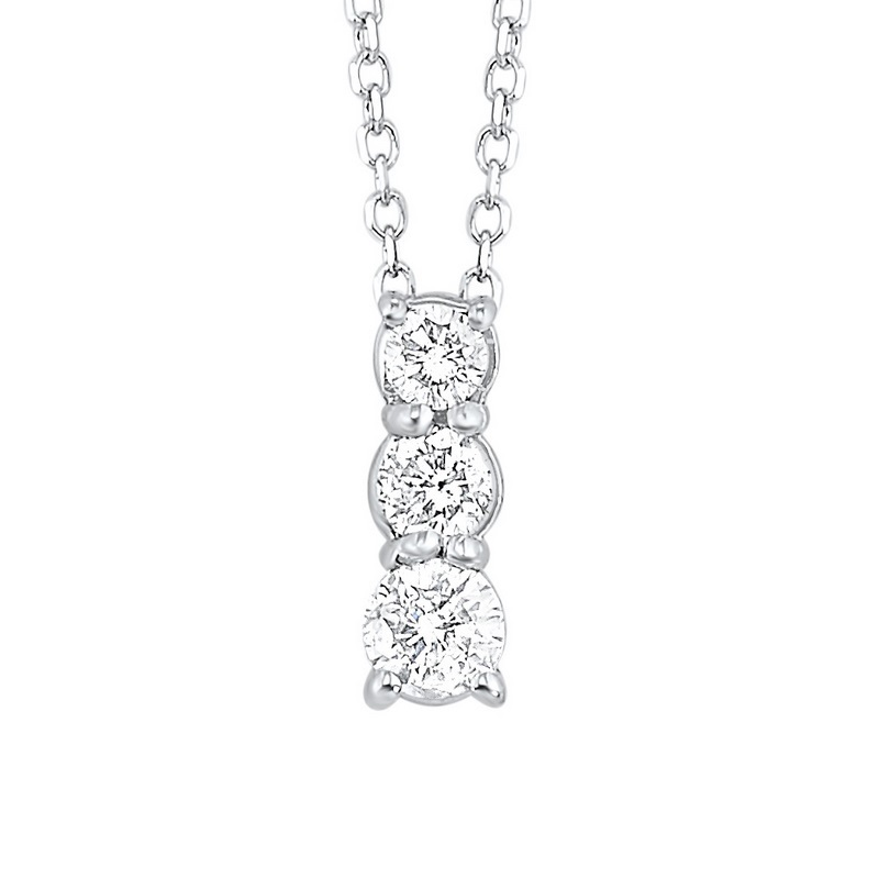 14K White Gold 3 Stone Prong Diamond Necklace 3/4CT Moseley Diamond Showcase Inc Columbia, SC