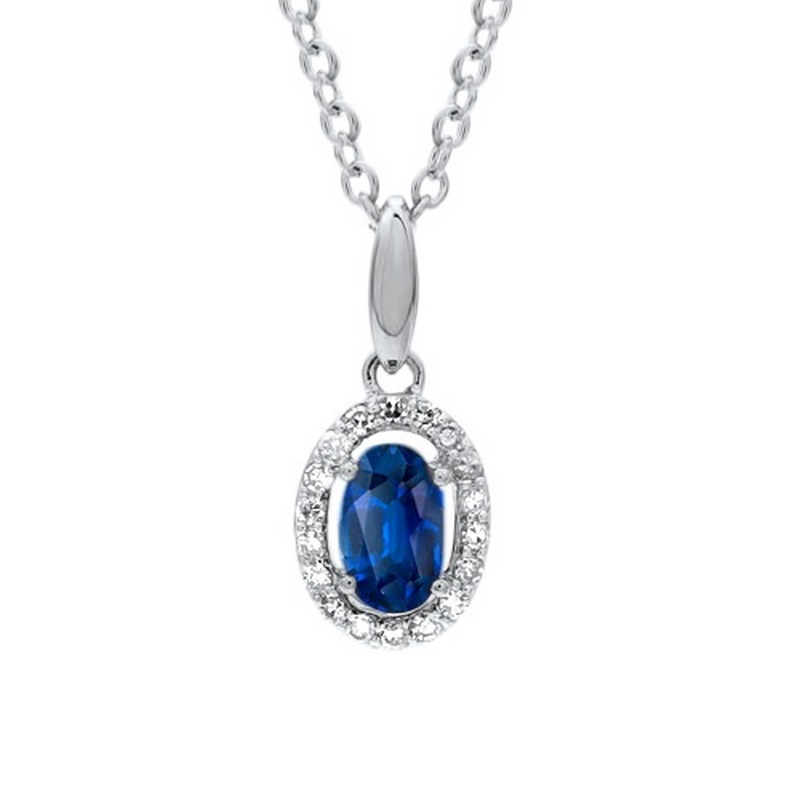 10K White Gold Color Ensembles Prong Sapphire Necklace 1/250CT Moseley Diamond Showcase Inc Columbia, SC