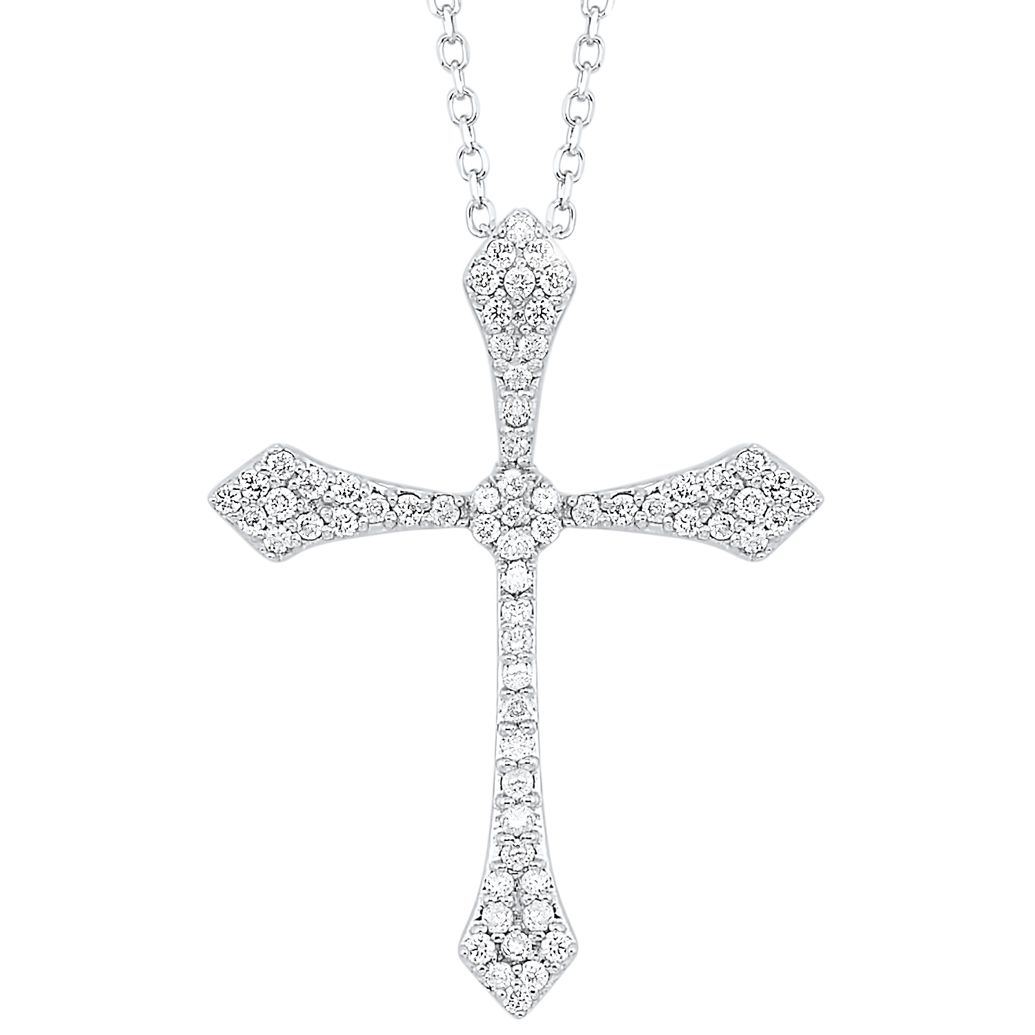14K White Gold Cross Shared Prong Diamond Necklace 1/4CT Moseley Diamond Showcase Inc Columbia, SC