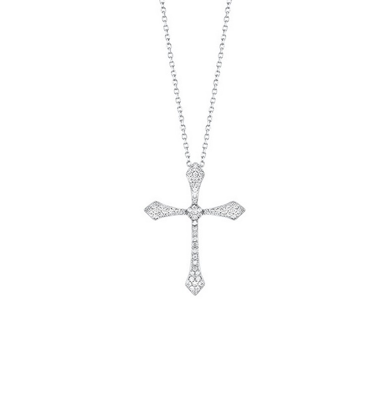 14K White Gold Cross Shared Prong Diamond Necklace 1/20CT Moseley Diamond Showcase Inc Columbia, SC