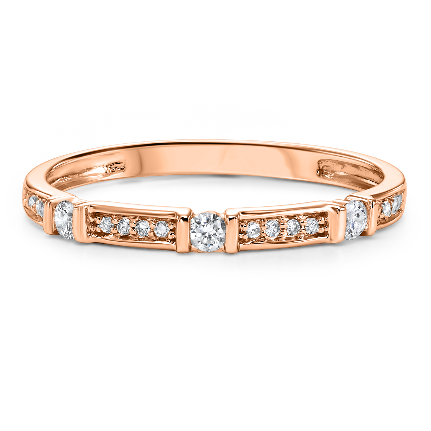 Stackable Dot & Dash Diamond Band in 10K Rose Gold (1/6 ct. tw.) Moseley Diamond Showcase Inc Columbia, SC