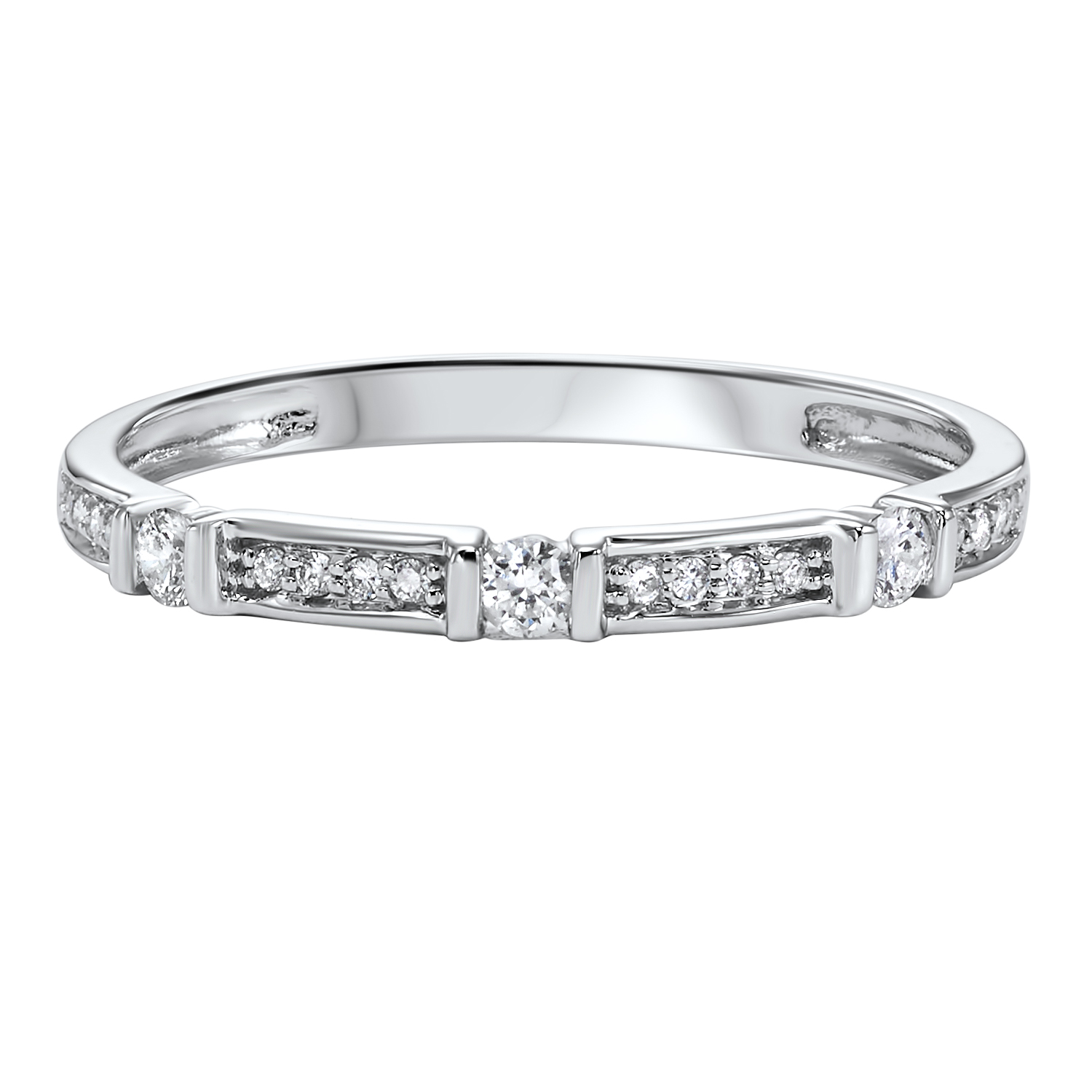 14K White Gold Stackable Prong Diamond Band (1/6 ct. tw.) Moseley Diamond Showcase Inc Columbia, SC