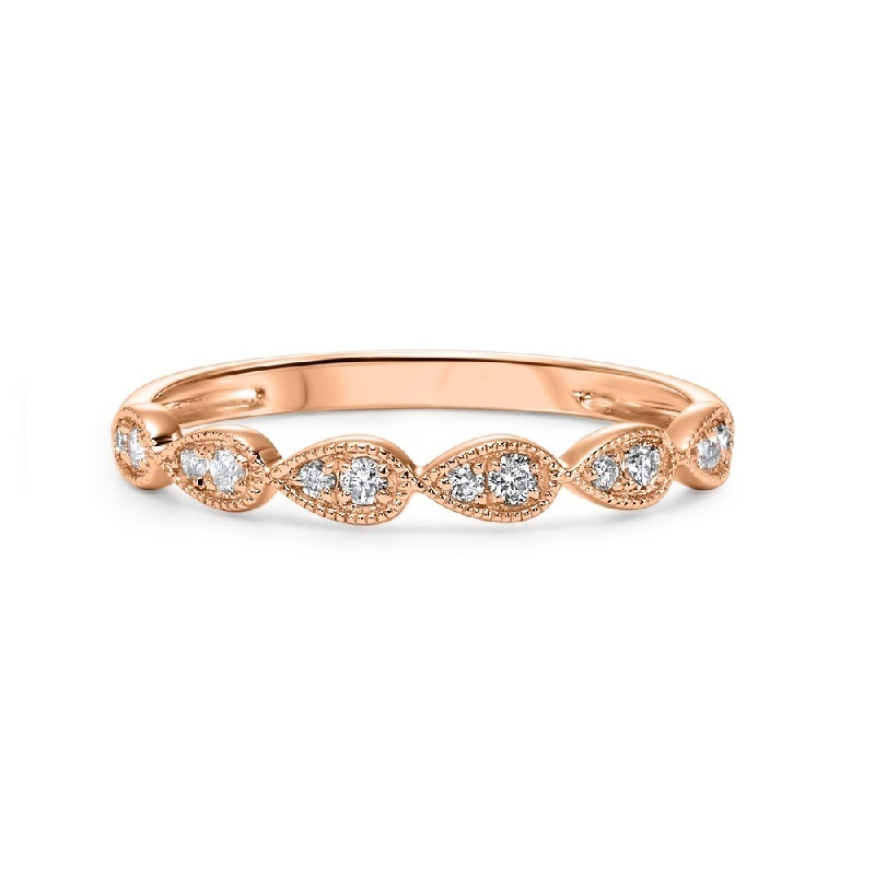 14K Rose Gold Stackable Prong Diamond Band (1/8 ct. tw.) Moseley Diamond Showcase Inc Columbia, SC