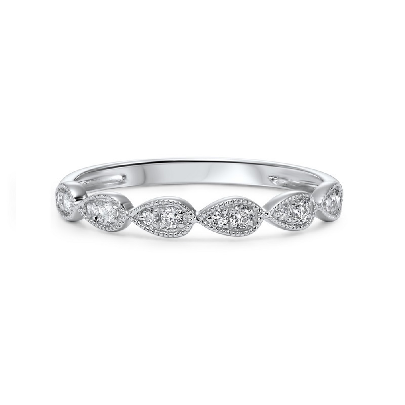 14K White Gold Stackable Prong Diamond Band (1/8 ct. tw.) Moseley Diamond Showcase Inc Columbia, SC
