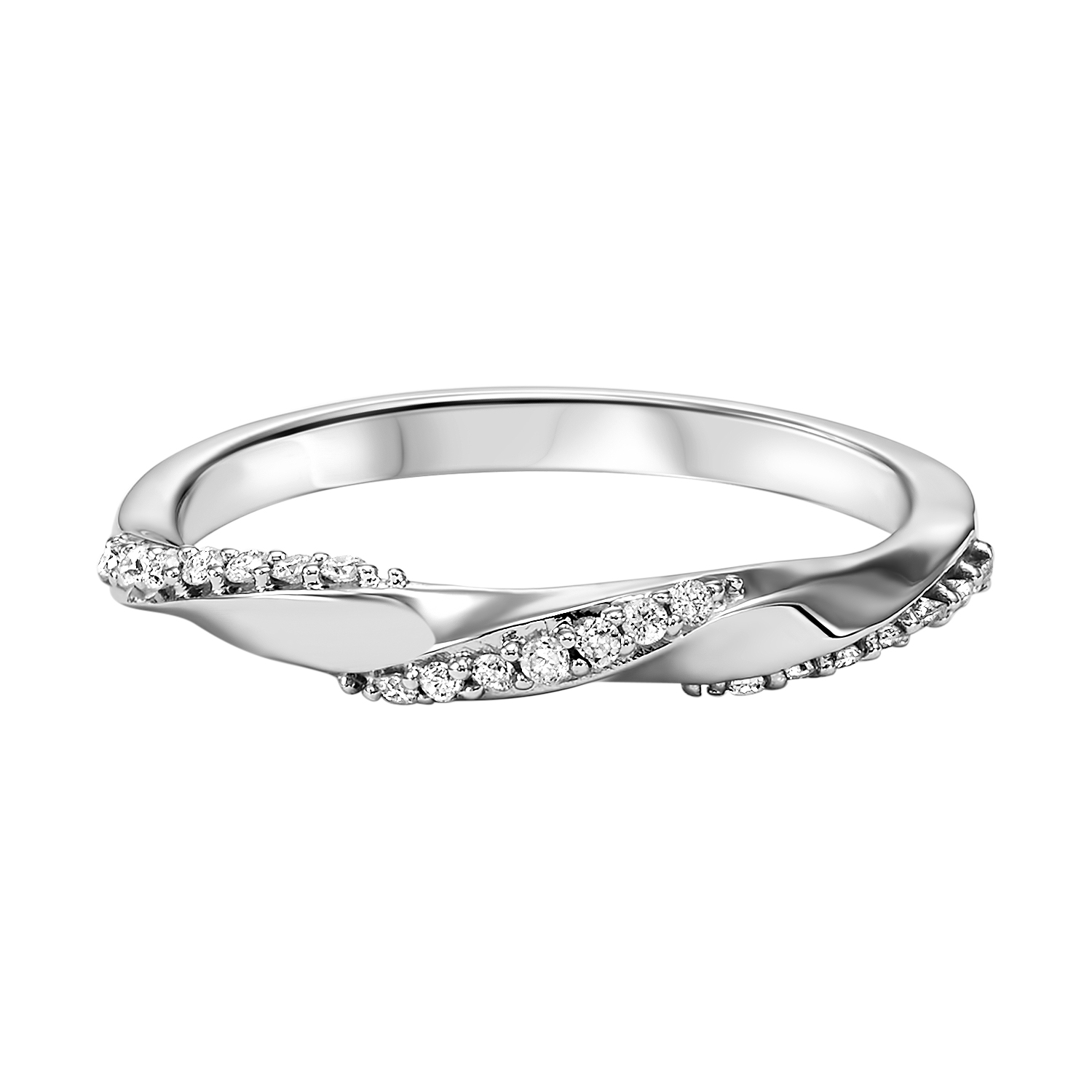Stackable Twisting Diamond Band in 10K White Gold (1/8 ct. tw.) Moseley Diamond Showcase Inc Columbia, SC