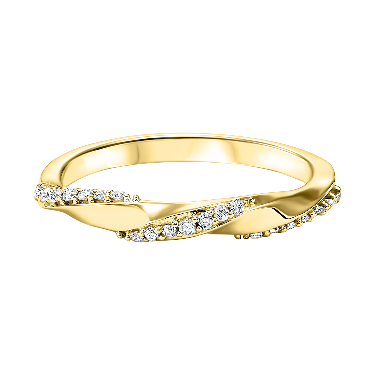 Stackable Twisting Diamond Band in 10K Yellow Gold (1/8 ct. tw.) Moseley Diamond Showcase Inc Columbia, SC