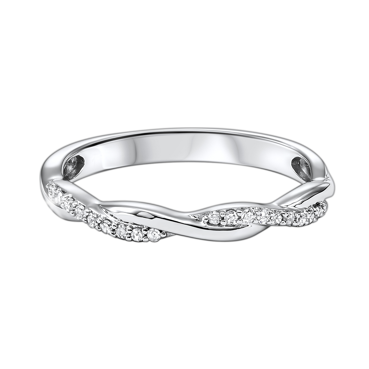 10K White Gold Stackable Prong Diamond Band (1/10 ct. tw.) Moseley Diamond Showcase Inc Columbia, SC
